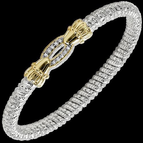 14 Karat Yellow Gold and Silver .08ctw Diamond Alwand Vahan Bangle