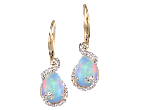 18 Karat Yellow and White Gold Opal and Diamond Denny Wong Earrings