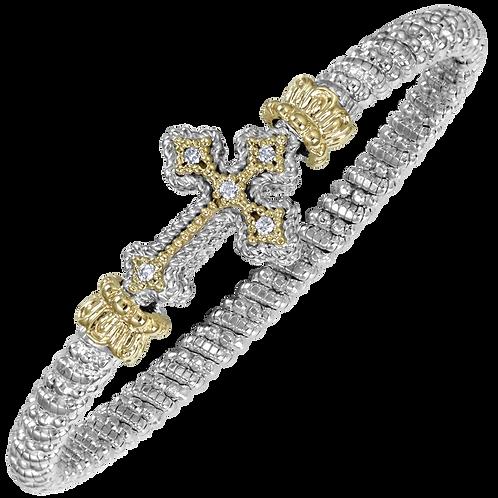 14 Karat Yellow Gold and Silver .10ctw Diamond Alwand Vahan Bangle