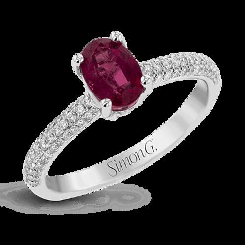18 Karat White Gold Ruby and Diamond Simon G Ring
