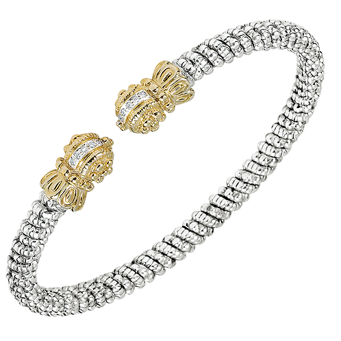14 Karat Yellow Gold Silver .08ctw Diamond Alwand Vahan Bangle