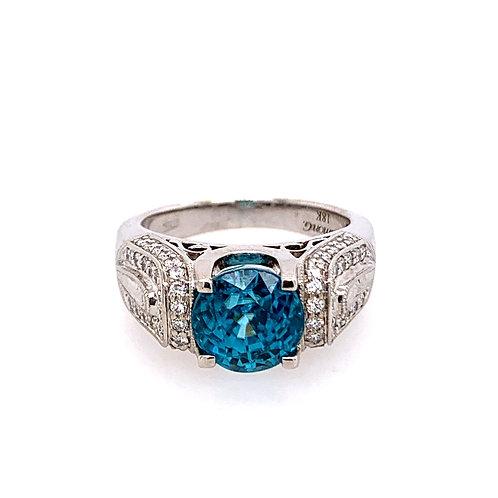 18 Karat White Gold Blue Zircon and Diamond Simon G Ring