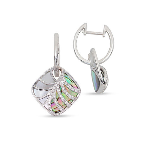 14 Karat White Gold Abalone, MOP and Diamond Frederic Sage Earrings