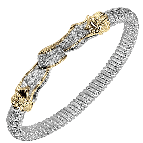 14 Karat Yellow Gold and Silver .60ctw Diamond Alwand Vahan Bangle
