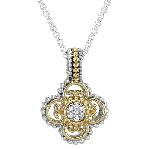 14 Karat Yellow Gold and Silver .11 Carat Alwand Vahan Pendant