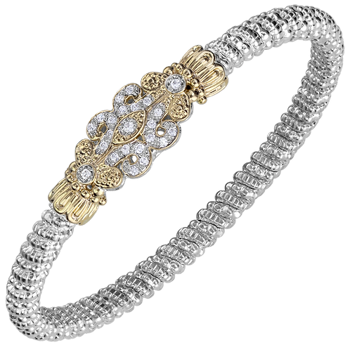 14 Karat Yellow Gold and Silver .25ctw Diamond Alwand Vahan Bangle