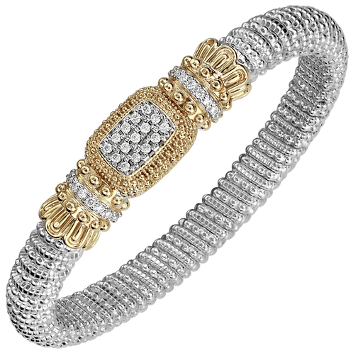 14 Karat Yellow Gold and Silver .44ctw Diamond Alwand Vahan Bangle