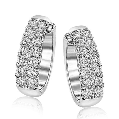 18 Karat White Gold Diamond Simon G Earrings