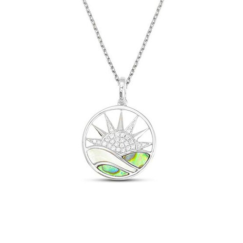 14 Karat White Gold Abalone, MOP and Diamond Frederic Sage Pendant