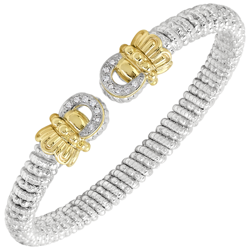 14 Karat Yellow Gold and Silver .11ctw Diamond Alwand Vahan Bangle