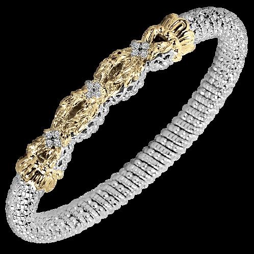 14 Karat Yellow Gold and Silver .09ctw Diamond Alwand Vahan Bangle
