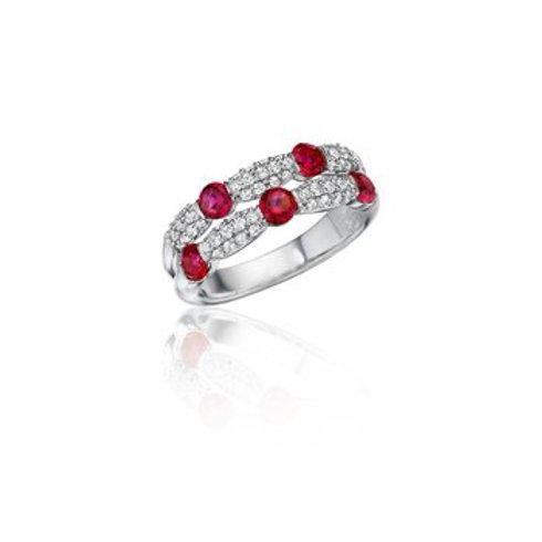 14 Karat White Gold Ruby and Diamond Fana Ring