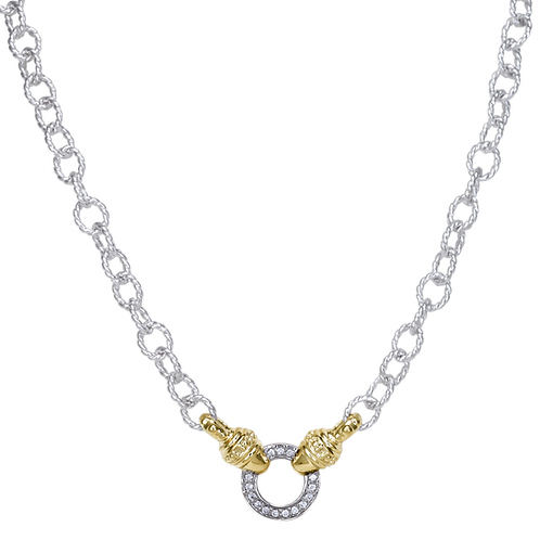 14 Karat Yellow Gold and Silver .15ctw Diamond Alwand Vahan Necklace
