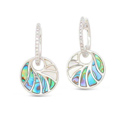 14 Karat White Gold Abalone, Mother of Pearl and Diamond Frederic Sage Earrings