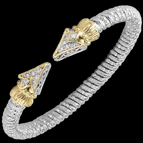 14 Karat Yellow Gold and Silver .19ctw Diamond Alwand Vahan Bangle