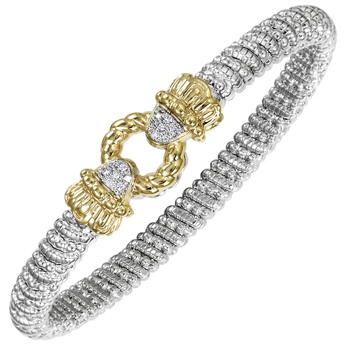 14 Karat Yellow Gold and Silver .11ctw Diamond Alwand Vahan Bangle