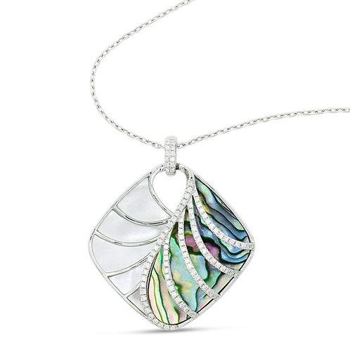 14 Karat White Gold Abalone, MOP and Diamond Frederic Sage Pendant