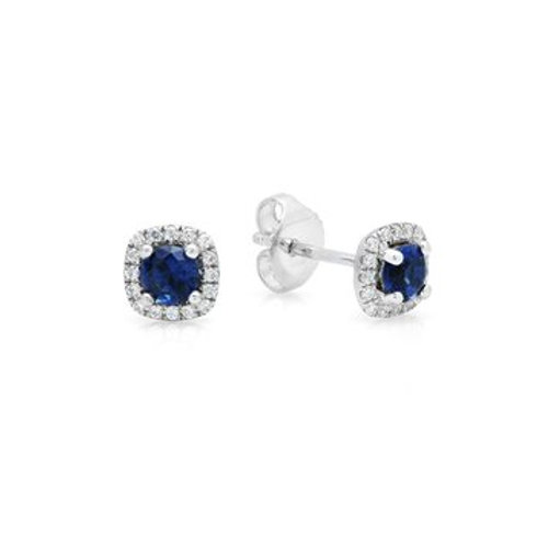 14 Karat White Gold Sapphire and Diamond Fana Stud Earrings