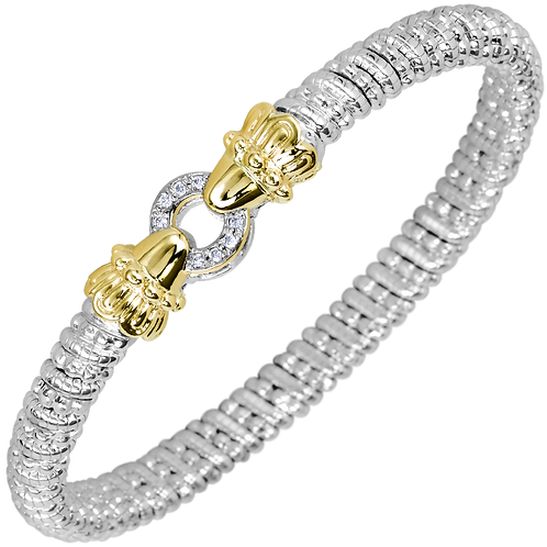 14 Karat Yellow Gold and Silver .08ctw Diamond Alwand Vahan Bangle