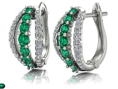 14 Karat White Gold Emerald and Diamond Earrings