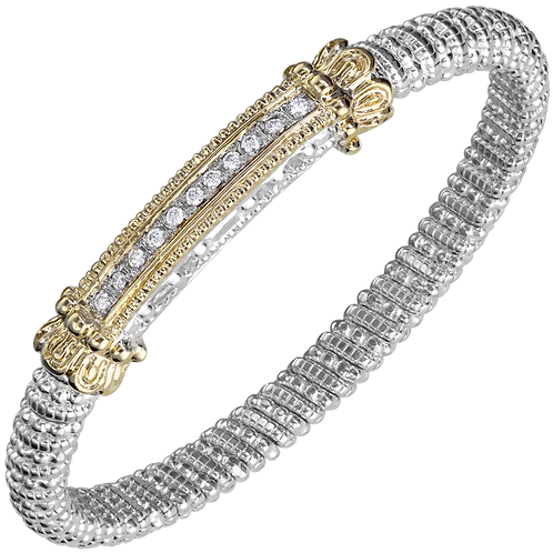 14 Karat Yellow Gold and Silver .22ctw Diamond Alwand Vahan Bangle