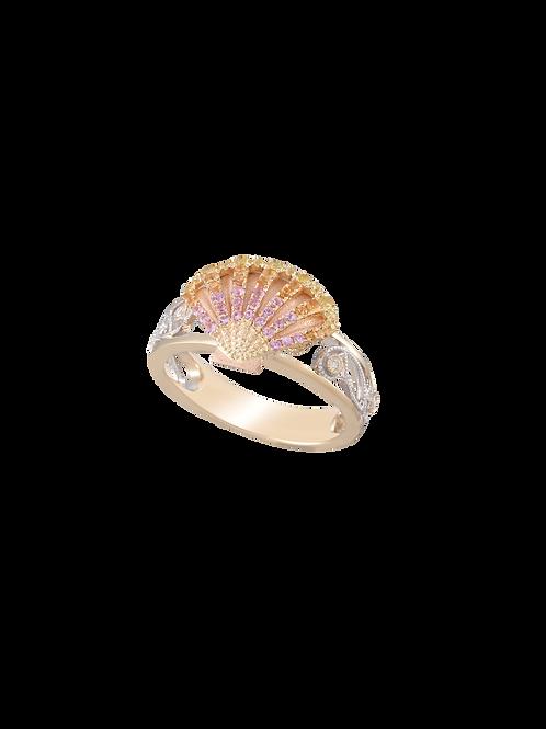 14 Karat Two Tone Sun Rise Sea Shell Denny Wong Ring