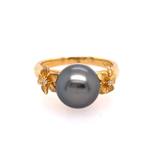 Denny Wong Plumeria and Black Tahitian Pearl Ring