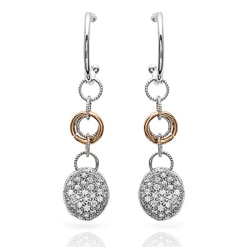 18 Karat White and Yellow Gold Diamond Simon G Dangle Earrings