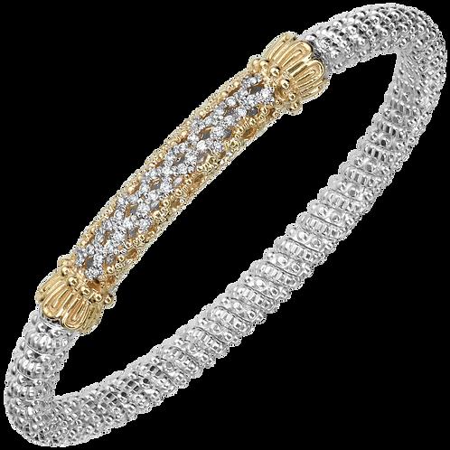 14 Karat Yellow Gold and Silver .28ctw Diamond Alwand Vahan Bangle