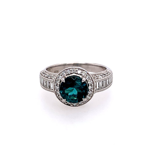 18 Karat White Gold Green Tourmaline and Diamond Simon G Ring