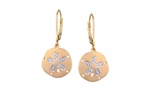 14 Karat Yellow Gold Denny Wong Sand Dollar Earrings
