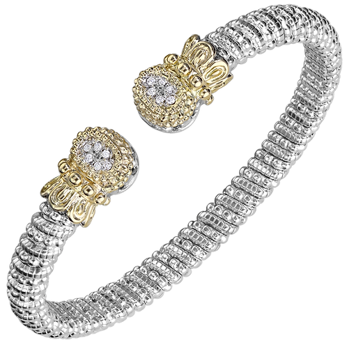 14 Karat Yellow Gold and Silver .09ctw Diamond Alwand Vahan Bangle
