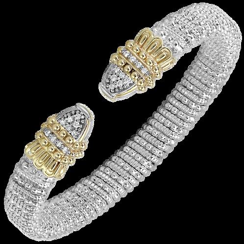 14 Karat Yellow Gold and Silver .20ctw Diamond Alwand Vahan Bangle