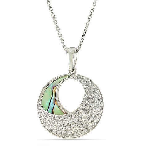 14 Karat White Gold Abalone and Diamond Frederic Sage Pendant