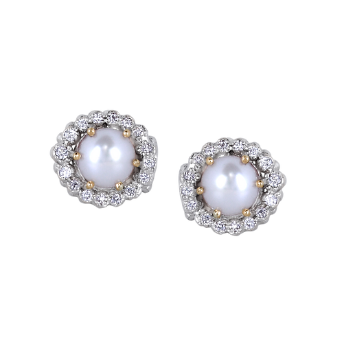 14 Karat Yellow Gold and Silver Pearl and Diamond Alwand Vahan Earrings