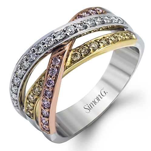 18 Karat Tri Color Diamond Simon G Ring
