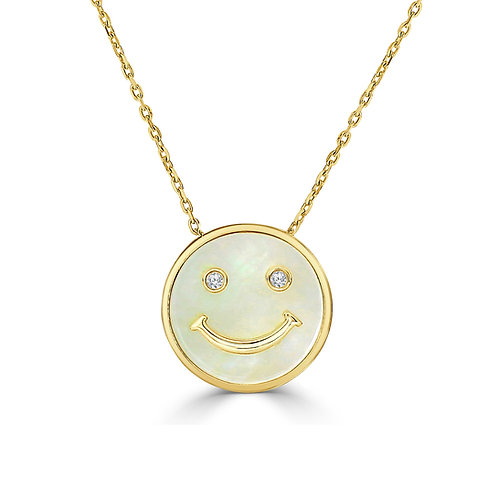 14 Karat Yellow Gold MOP and Diamond Happy Face Frederic Sage Pendant