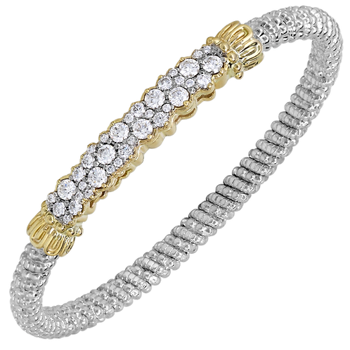 14 Karat Yellow Gold and Silver 1.44ctw Diamond Alwand Vahan Bangle