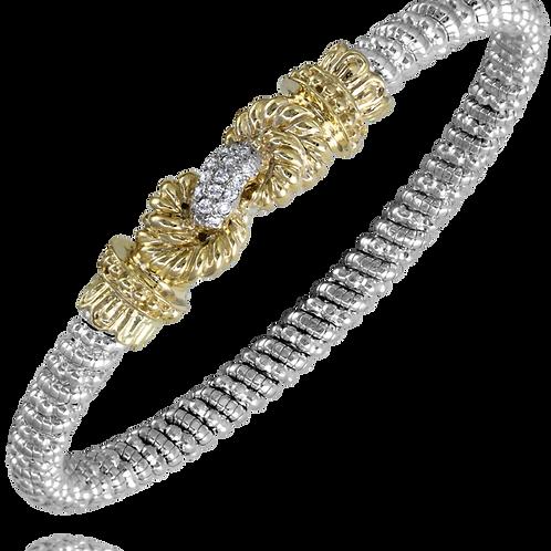 14 Karat Yellow Gold and Silver .15 Carat Alwand Vahan Bangle