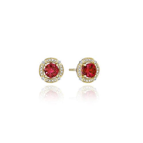 14 Karat Yellow Gold Ruby and Diamond Fana Studs
