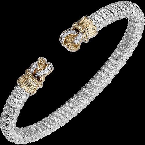 14 Karat Yellow Gold and Silver .12ctw Diamond Alwand Vahan Bangle