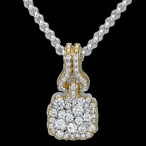 14 Karat Yellow Gold and Silver 1.13ctw Diamond Alwand Vahan Pendant