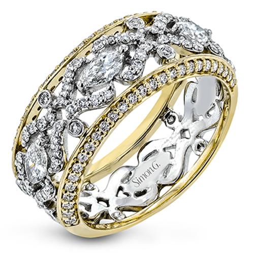 18 Karat White and Yellow Gold Diamond Simon G Ring