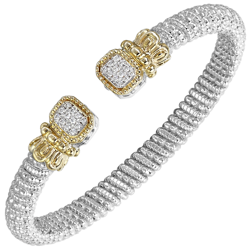 14 Karat Yellow Gold and Silver .18 Carat Alwand Vahan Bangle