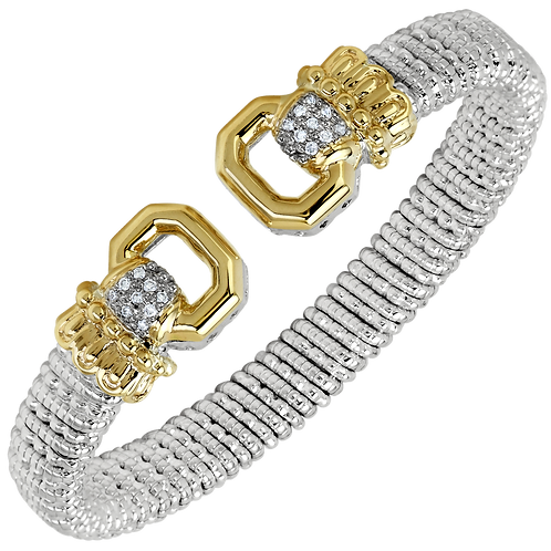 14 Karat Yellow Gold and Silver .14ctw Diamond Alwand Vahan Bangle