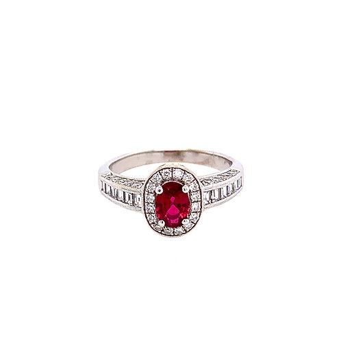 18 Karat White Gold Ruby and Diamond Ring