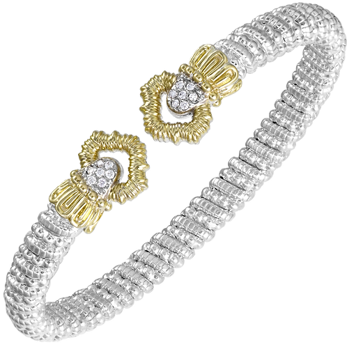 14 Karat Yellow gold and Silver .11 Carat Alwand Vahan Bangle