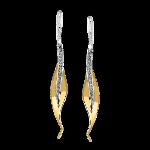 18 Karat White and Yellow Gold Diamond Simon G Earrings