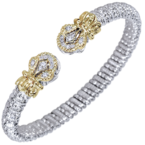 14 Karat Yellow Gold and Silver .15ctw Diamond Alwand Vahan Bangle
