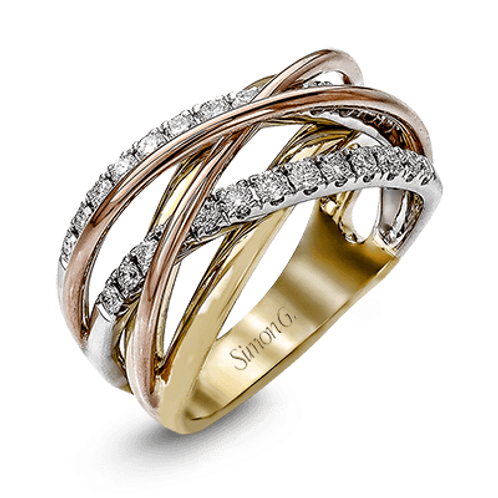 18 Karat Tri Color Diamond Simon G Ring